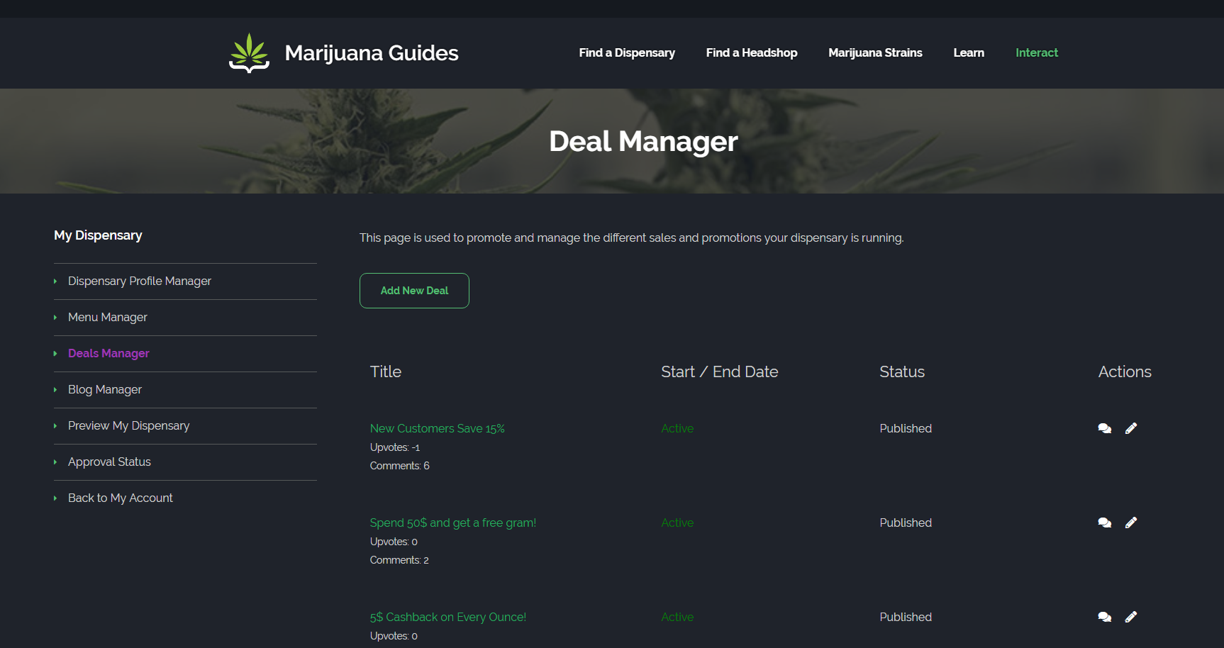 Dispensary Deal Manager