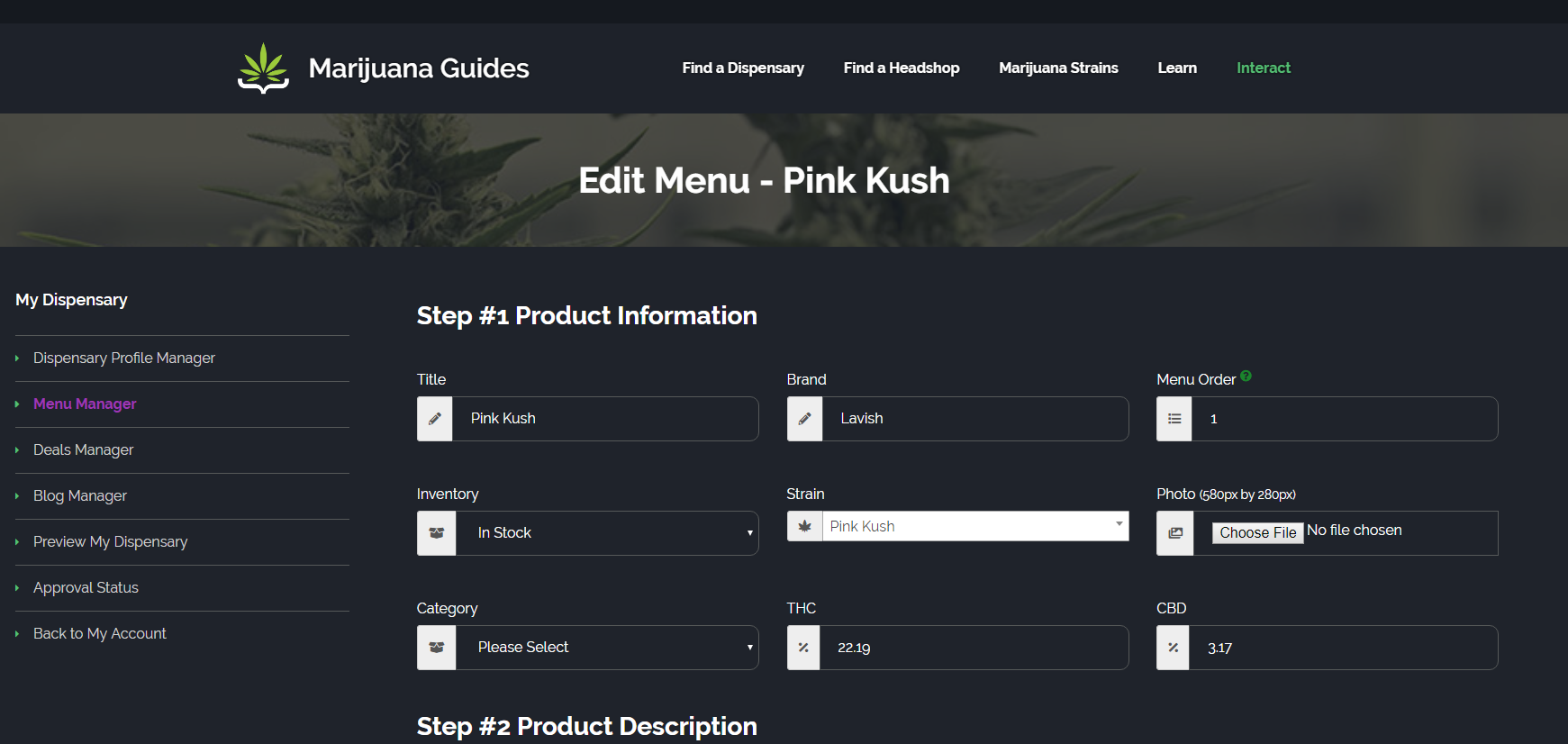 Dispensary Menu Editor